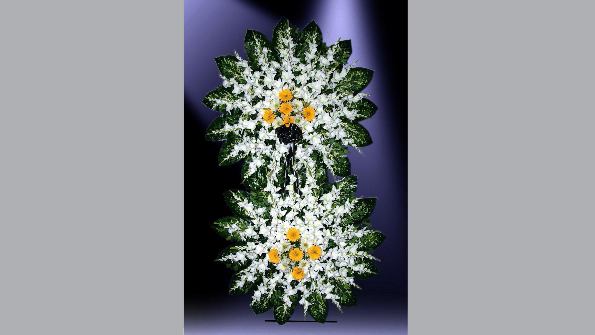ساخت تاج گل خیریه | استند تسلیت | طراحی تاج گل خیریه | گل میخک | گل رز | گل لیلیوم | گل گلایل
